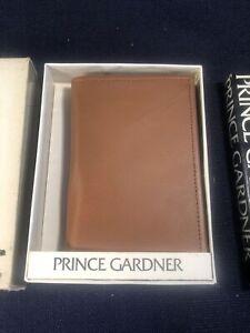 Vintage PRINCE GARDNER Brown Top Grain Cowhide BiFold Wallet 70s w/ original Box