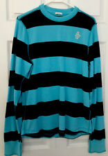 Abercrombie and Fitch mens Large Crew Neck Shirt Turquoise And Navy Striped