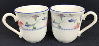 "Epoch Indigo Garden E 137  Set Of 2 Coffee Mugs 12 Oz 3.75"" Noritake Indonesia"