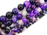 Natural Purple Agate Gemstone Stripe Round Beads 15.5'' Strand 6mm 8mm 10mm 12mm