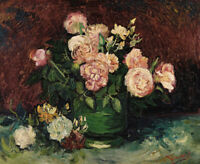 Roses And Peonies Vincent Van Gogh Floral Wall Decor Flowers Print Canvas Small