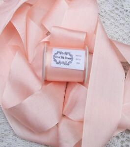 """100% PURE SILK  RIBBON 1 1/2"""" WIDE~ PEACHY/PINK ~COLOR~ 4 1/2 YARDS  LAST  LOT"""
