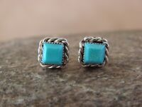 Small Native American Indian Jewelry Sterling Silver Square Turquoise Post Earri