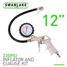 Dial Tire Inflator Gauge Flexible Hose 220 PSI Pistol Style Air Chuck Pneumatic