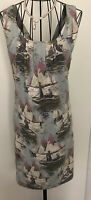 Pretty JOULES BOUTIQUE Sailing Boat Print Sleeveless Twist Dress UK 8 Holidays