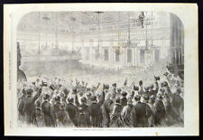GREAT ANTI-SLAVERY DEMONSTRATION AT EXETER HALL 1863 VICTORIAN ENGRAVING