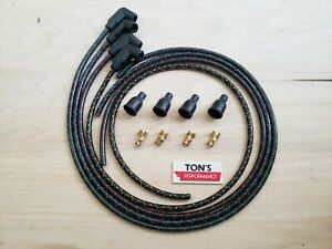 8mm Vintage Ford 8N Spark Plug Wire Set With Front Mount Distributor Cloth 4 cyl