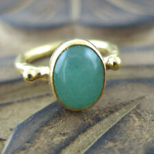 Handmade Designer Oval Jade Ring 24K Gold Over 925K Sterling Silver