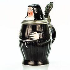 Character Lidded Beer Stein - Nun | Antique Germany 1900s Porcelain Lithophane