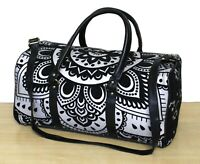 Indian Black Silver Mandala Hippie Cotton Unisex Multipurpose Boho Duffle Bags