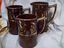 Rare Set Vintage Sadler England Brown Ceramic Red Pitcher Set Mint