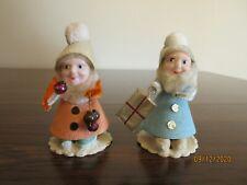 Vintage Christmas Elves, Lot Of 2, Plastic Faces, Japan, #5
