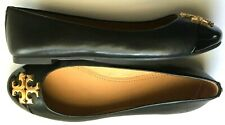 Tory Burch Everly Ballet Flats Black Cap Toe Patent Leather Gold Size 8.5 Shoes