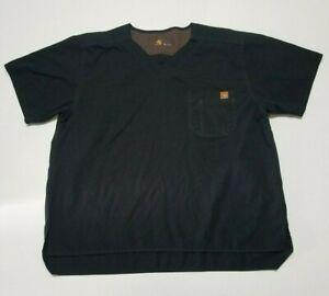 Carhartt Men's Ripstop Utility Scrub Top Black Short Sleeve Shirt C15108 Sz XL
