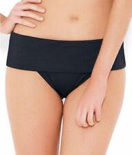 High Waisted Bikini Brief Jet Black Size XL 16 Fold Top Swimwear Bottom Saress