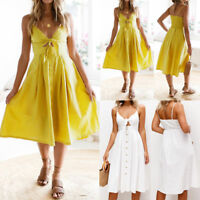 UK Summer Womens Holiday Bowknot Lace Up Ladies Summer Beach Buttons Party Dress