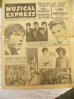 VINTAGE NMW NEW MUSICAL EXPRESS August 13th issue 970 beatles / animals /shadows