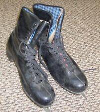 Vintage Black Ice Skates Canadian Flyer Blue Plaid Flannel Liner Silver Brazed