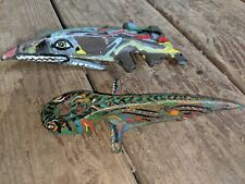 Vintage Mower Sickle Guard Hand Painted Metal Art Shark Salamander OOAK Estate