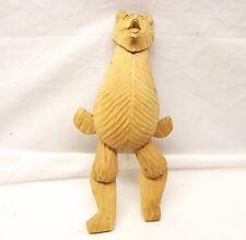 Vtg Hand Carved Wood Russian Bear Figurine Figure Jumping Jack Toy USSR Folk Art