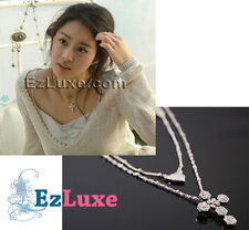 Korean drama TV Stairway to Heaven Cubic Cross Necklace heart 2-layer loose cut