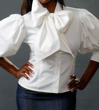 Spandex cotton Classic Bow top shirt Blouse YY001 white PLUS size 3X  4X