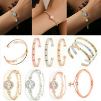 Stainless Steel Gold/Silver Crystal Cuff Bracelet Bangle Women Wedding Jewelry