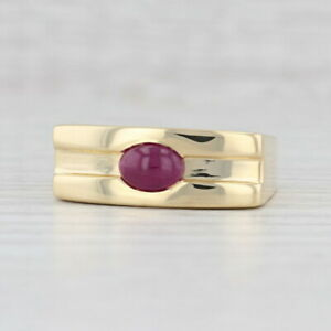 Men's Ruby Solitaire Ring 18k Yellow Gold Size 9.75-10