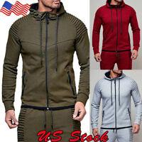 US Mens Zipper Long Sleeve Pocket Sport Jogging Hoodie Casual Tops Cardigan 1PCS