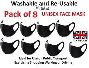 8 Pcs Reusable Washable Breathable Face Masks Black Mask Unisex Pack Of 8 UK