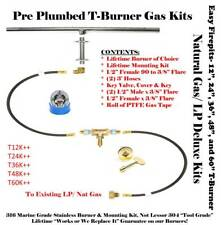 "T12K++: 12"" T-Burner Complete Deluxe Pre Plumbed Gas Fire Pit Kit 316 Stainless"