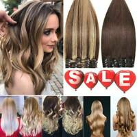 Clip in Human Hair Extensions Full Head 100% Real Remy Soft Hair Long & Short 8A