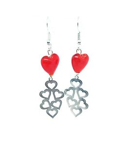 Red Glass Heart Earrings - Perfect Valentines Day Gift