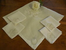 Vintage Madeira Organdy Tablecloth & 4 Matching Napkins