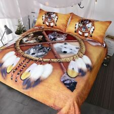 Bedding Set Native American Indian Wolf Duvet Cover Western Wild Animal Tribal