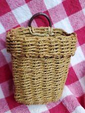 Vintage Miniature hand crafted BASKET leather handle PRIMITIVE FARMHOUSE Mini
