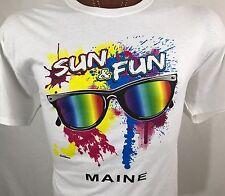 Maine Sun & Fun Sunglasses White Graphic T Shirt 100% Cotton L Large