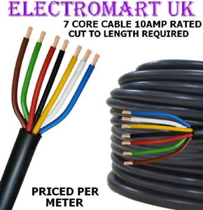 7 CORE CABLE WIRE TRAILER LIGHTING CARAVAN DISCO THIN WALL 10A 10 AMP