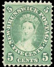 Mint NG Canada New Brunswick 1860 5c F+ Scott #8 Queen Victoria Stamp