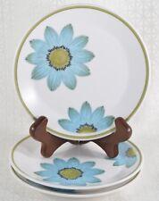 3 NORITAKE PROGRESSION China UP-SA DAISY Bread Plates Turquoise Blue Flowers MCM
