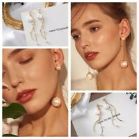 1Pair Personality Stud Fashion Drop Jewelry Big Pearl Long Chain Earrings Women