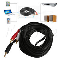 15FT 5m 3.5mm Stereo Mini Plug Male Jack to 2-RCA Male Audio Cable Adapter Cord