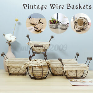 Vintage Wire Basket Rattan Hanging Flower Pot Storage Basket Fabric Liner