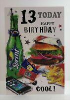 Jonny Javelin Male Age 13 13th Happy Birthday Card Burger Phone/GR232