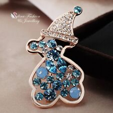 18K Rose Gold Filled Made With Swarovski Crystal Happy Bear Aquamarine Brooch
