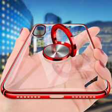 For iPhone XS Max Case XR Ring Holder Plating Car Magnetic Clear Thin Slim Cover