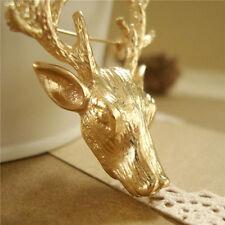 """2""""Large antique brass Big Antlers deer Elk head Animal Bridal Brooch Pin"""