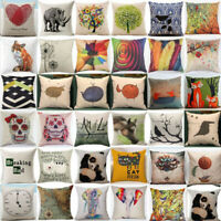 Fashion Watercolor Cotton Linen Throw Pillow Case Sofa Cushion Cover Home Decor