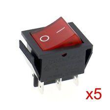 Wippenschalter 6-polig rote beleuchtete 2 Stellungen:EIN/AUS UL TüV 5 Stück