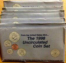 LOT OF TEN (10) 1998 US MINT SETS -- 100 UNCIRCULATED BU COINS IN MINT CELLO P+D